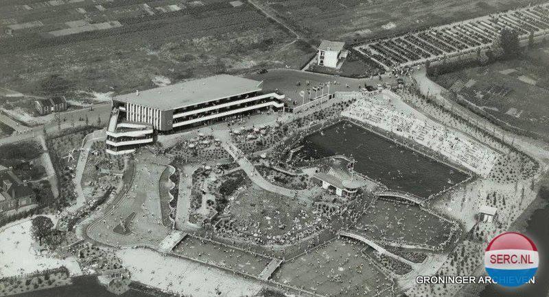 Groningen Zwembad De Papiermolen Vanuit De Lucht Gezien In 1956