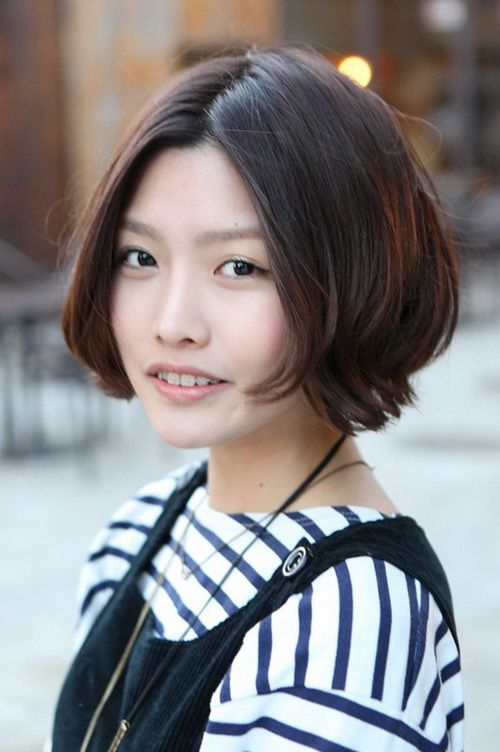 Cute Korean Hair With Short Bob Hairstyle Center Part Beauty