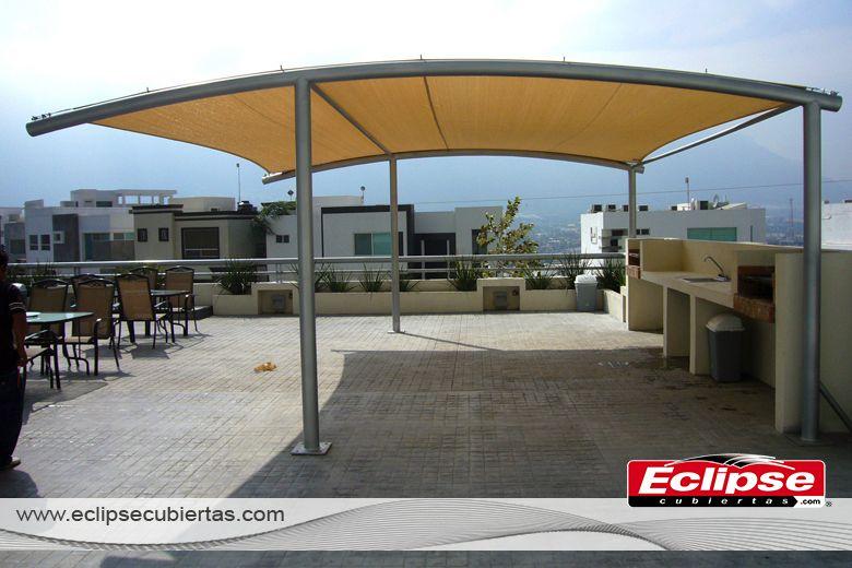 toldo curvo para terraza #toldos #mallasombra #tensoestructuras