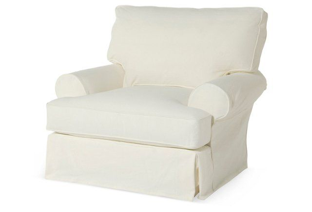 Good Comfy Slipcovered Club Chair, White