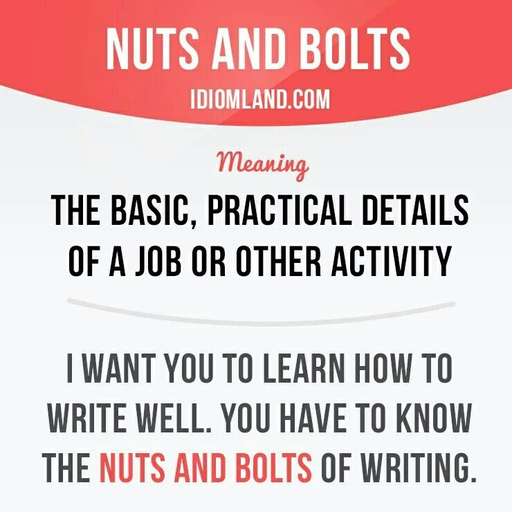Idiom: nuts and bolts | Multiple-Meaning Words | English