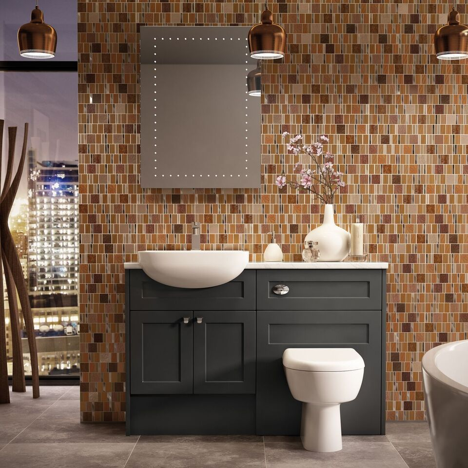Details Picton Charcoal Grey Shaker Matt Bathroom Vanity Units
