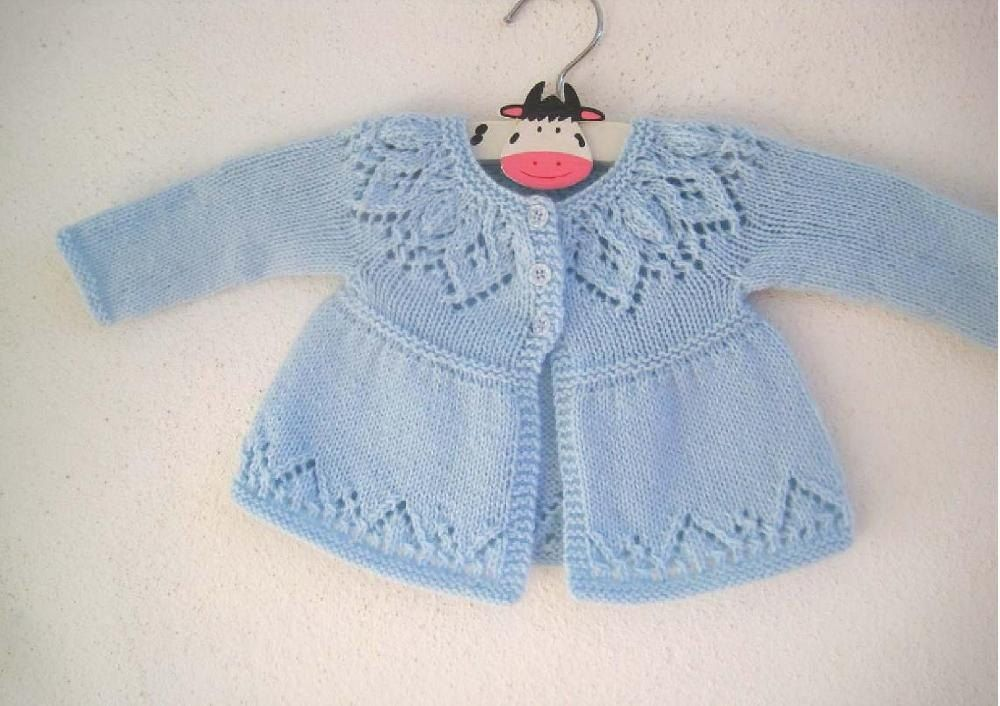 A pretty baby & girlscardigan with a gorgeous lace yoke. Knit in one piece seamlessly from the top down with a pretty lace hem.This pattern includes the instructions to knit 7 sizes from preemie up to 6 years and also includes the instructions to knit the cardi with cap sleeves, short sleeves and long sleeves (pictured) giving you plenty of options to suit all climates not to mention amazing value for money.The lace yoke and hem patterns are both charted and fully written out row-by-row.