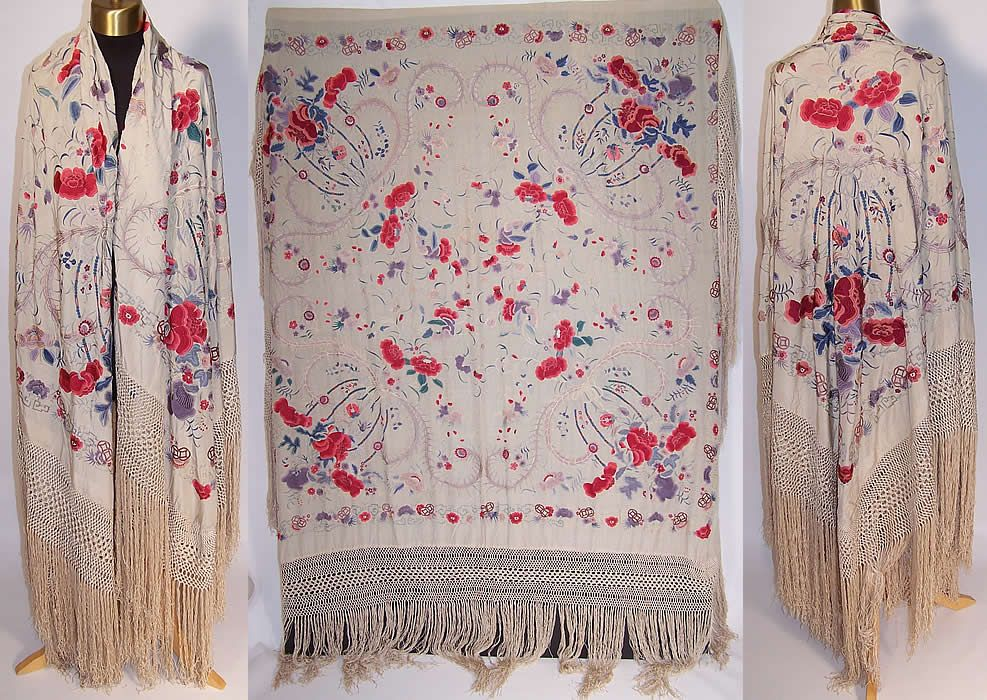 a3c6c2a45 Antique Silk Embroidered Chinese Peacock Feather Floral Canton Piano Shawl