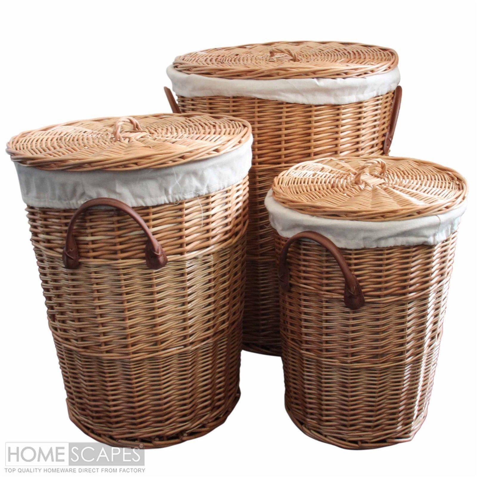 Willow Wicker Storage Basket Hamper Handles Natural Wooden: Set Of 3 Natural Round Willow Wicker Laundry Baskets