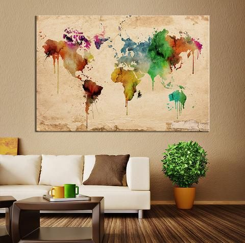 Canvas Art Print - Sephia Watercolor World Map on old Wall - Large ...