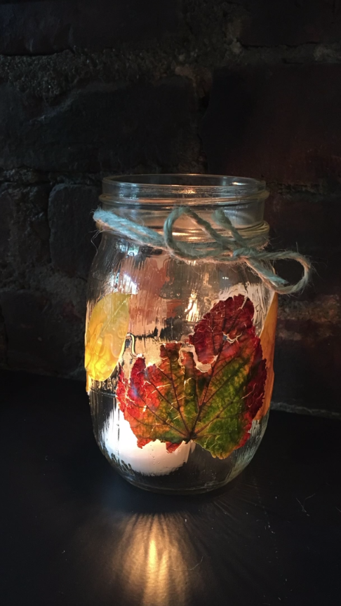 Decoupage Fall Leaf Mason Jar