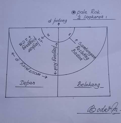 Pola Rok Setengah Lingkaran Bodro Mulia Pola Rok Pola Jahitan Teknik Menjahit