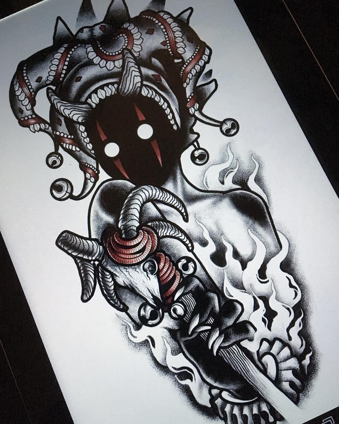 Darkhead Tattoo Design Blackwork Monster Creature Creepy Dotwork