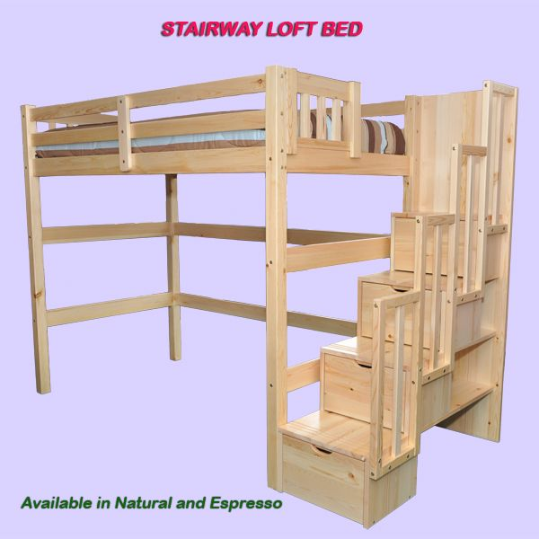 Best Encore Stairway Twin Loft Bed Natural Bunk Beds With 640 x 480