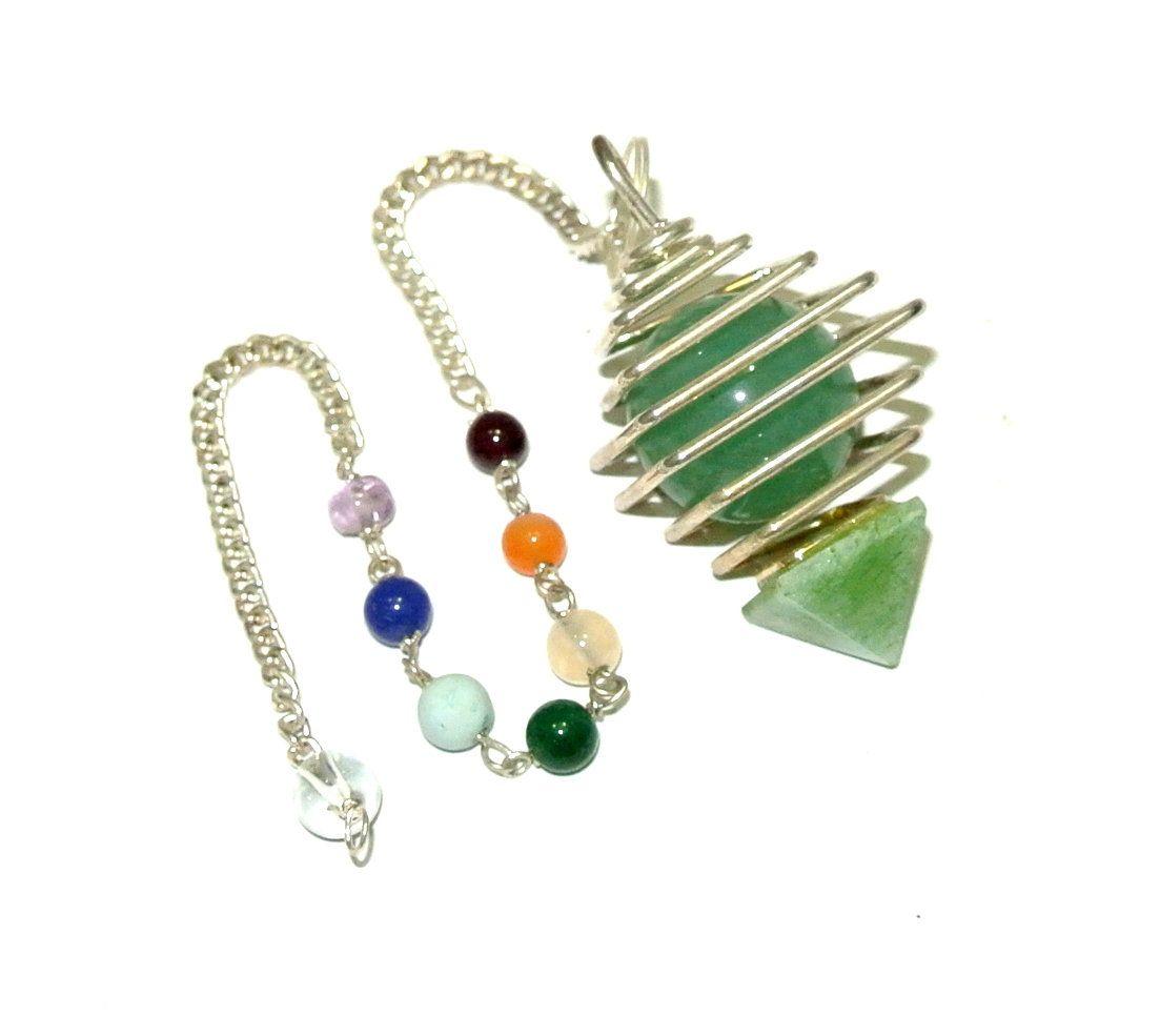 On Hot Sale !!! Green Aventurine Cage Ball Pyramid Pendulum
