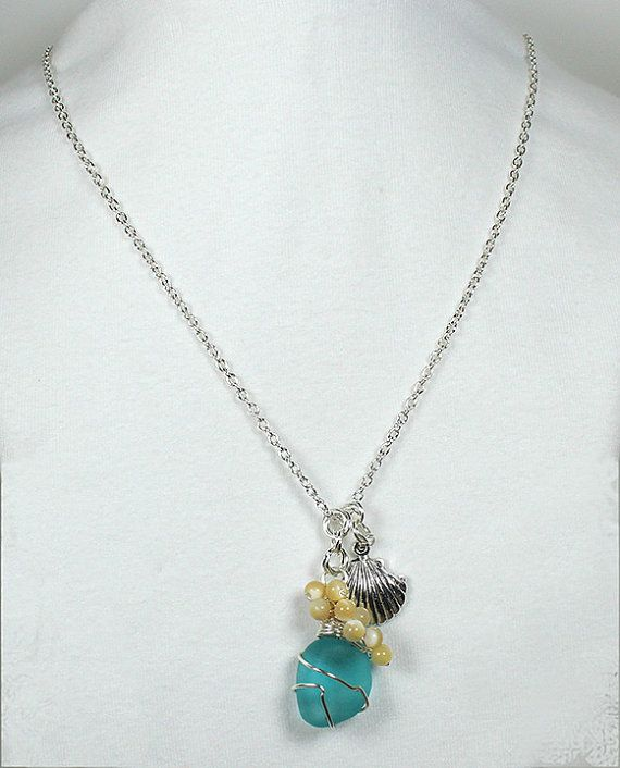 Beaded Pendant Necklace Recycled Deep Aqua by LaurieRobertsJewelry, $32.99