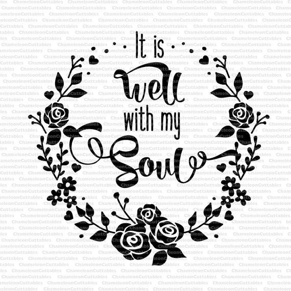 Well With My Soul Svg Floral Wreath By ChameleonCuttables