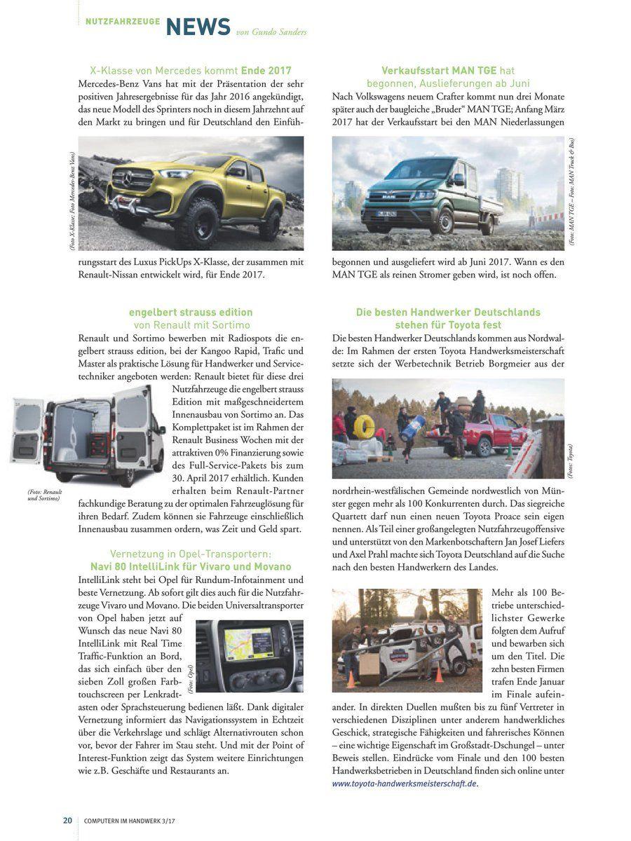 """Die Newsseite zu Nutzfahrzeugen im Handwerk aus der aktuellen Ausgabe 3/17 des Fachmagazins für Bauhandwerker """"Computern im Handwerk"""", hier auch als PDF..."""