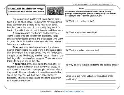 Using Land In Different Ways 2nd Grade Reading Comprehension Worksheets Reading Comprehension Reading Comprehension Worksheets 2nd Grade Reading Comprehension Social studies comprehension worksheets