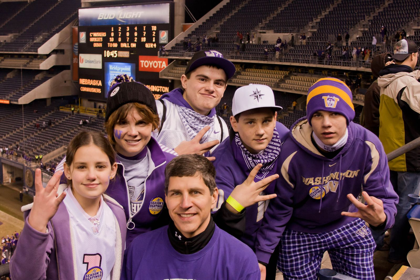 Husky fans enjoying the Holiday Bowl. #youW Photo by Jacqueline Riddell