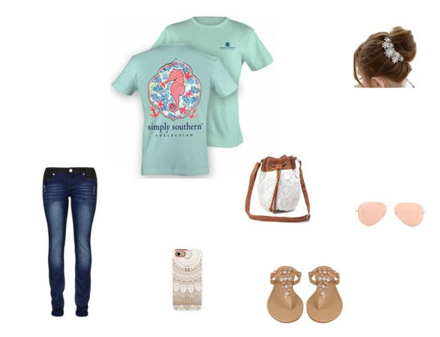 """""""Simply southern Seahorse"""" by purplelemon23 ❤ liked on Polyvore featuring mode, Charlotte Russe, Ray-Ban, Black Rivet en Casetify"""