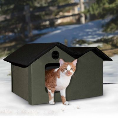 K Amp H Manufacturing Outdoor Heated Kitty House Extra Wide Heated Outdoor Cat House Outdoor Cat House Kitty