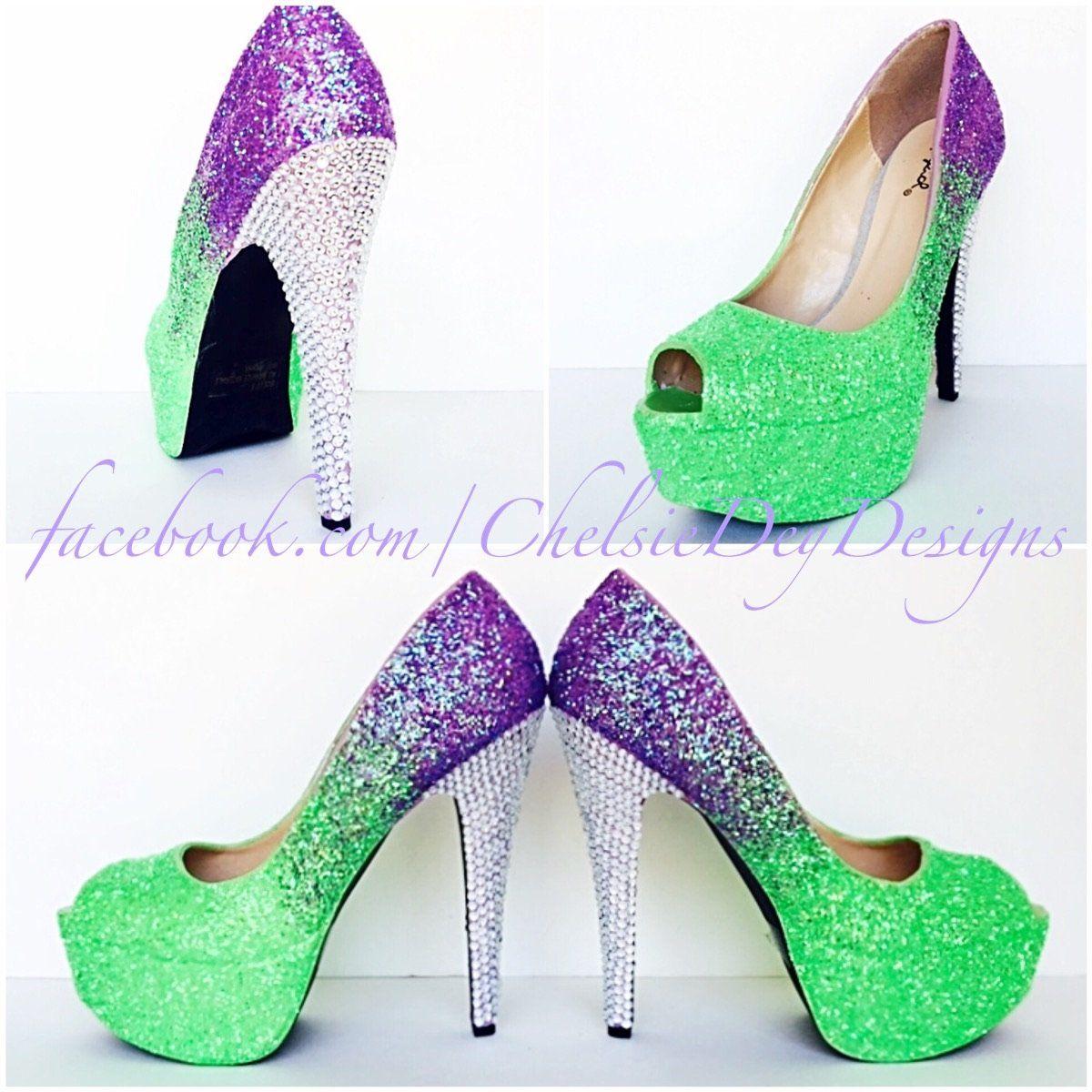 Lilac Peep Toe Glitter Pumps, Neon Green Violet Open Toe Heels, Lavender Ombre High Heels