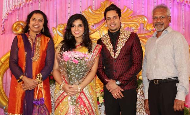 Mani Ratnam With His Wife At Bharath Wedding Reception