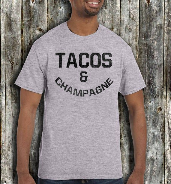 TACOS & CHAMPAGNE T Shirt Sunday Funday Crew Mimosas Brunch So Hard Day Drinking Tequila Weekends Ha