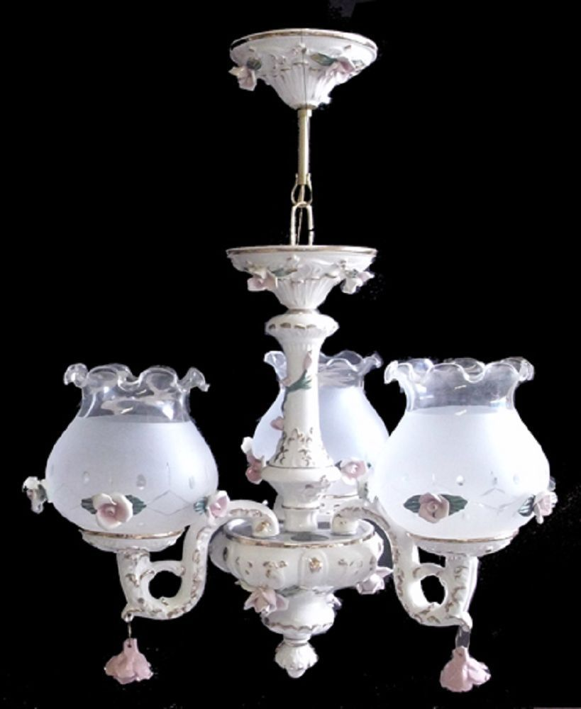 Capodimonte made in italy chandelier 3 lights 3 globes new capodimonte italian porcelain chandelier 3 lights 3 globes new ceilingfixtures arubaitofo Images
