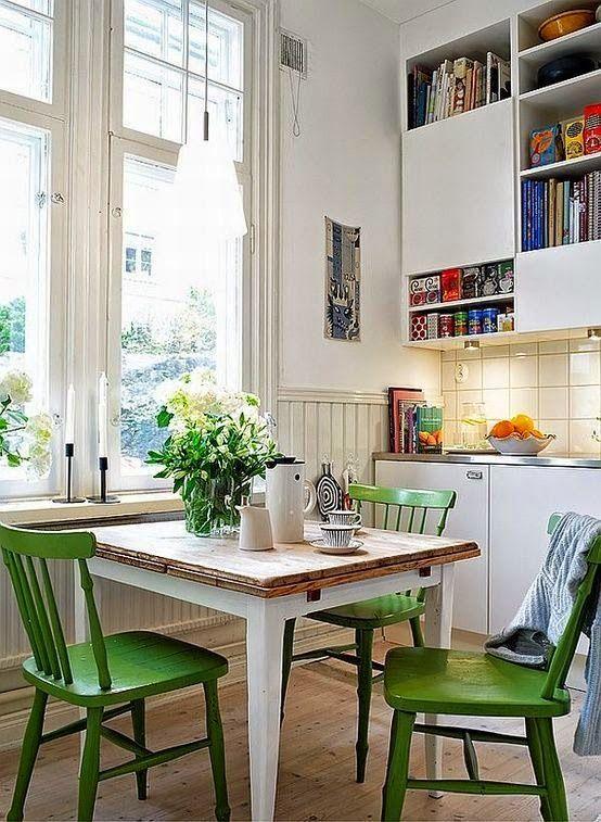 Pop Of Green Modern Dining Room Kitchen Inspirations