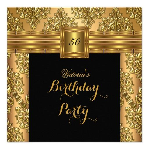 Damask Gold Black Belt Buckle Birthday Party 2 Announcements