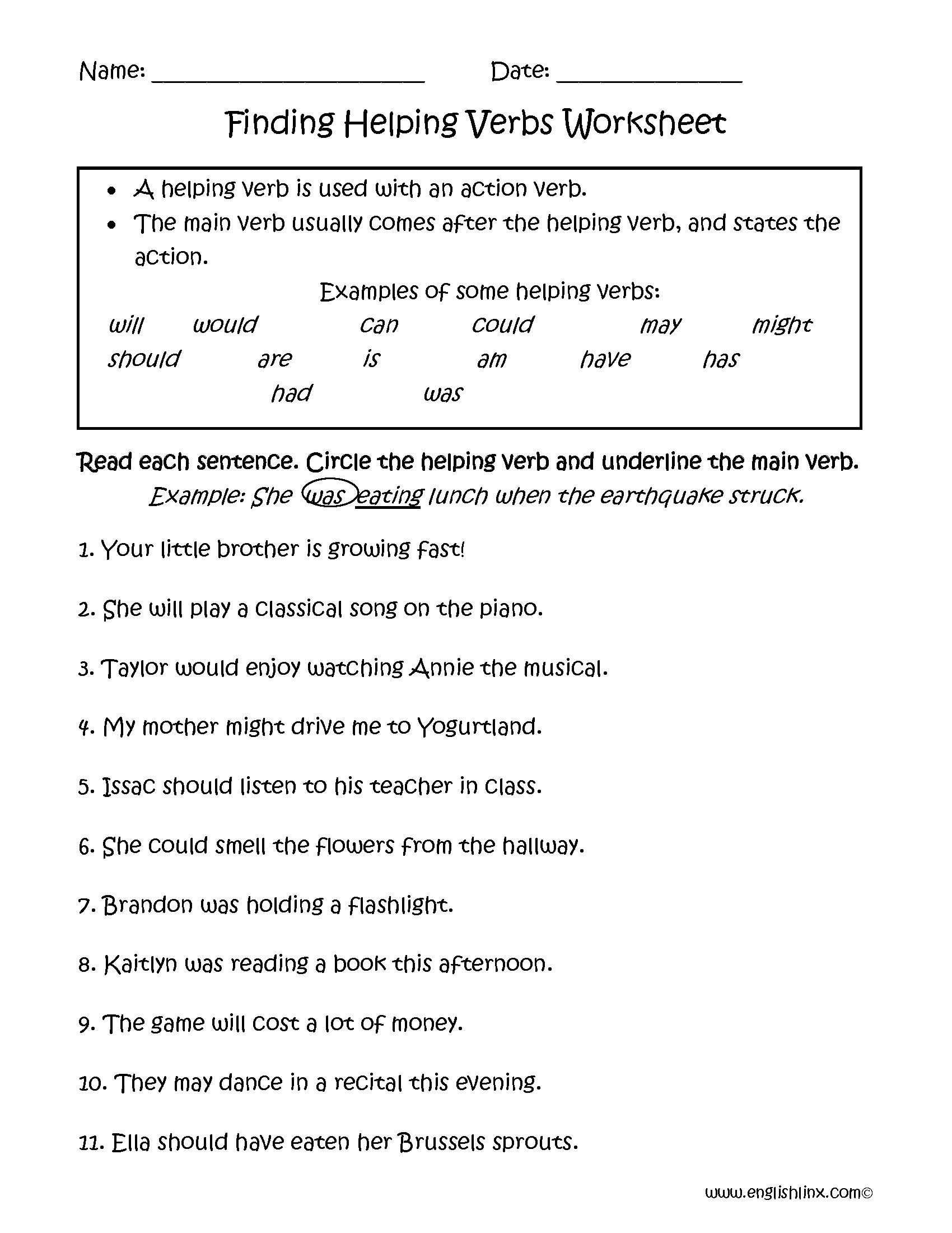 Verbs Worksheets   Helping Verbs Worksheets   Helping verbs worksheet [ 2200 x 1700 Pixel ]