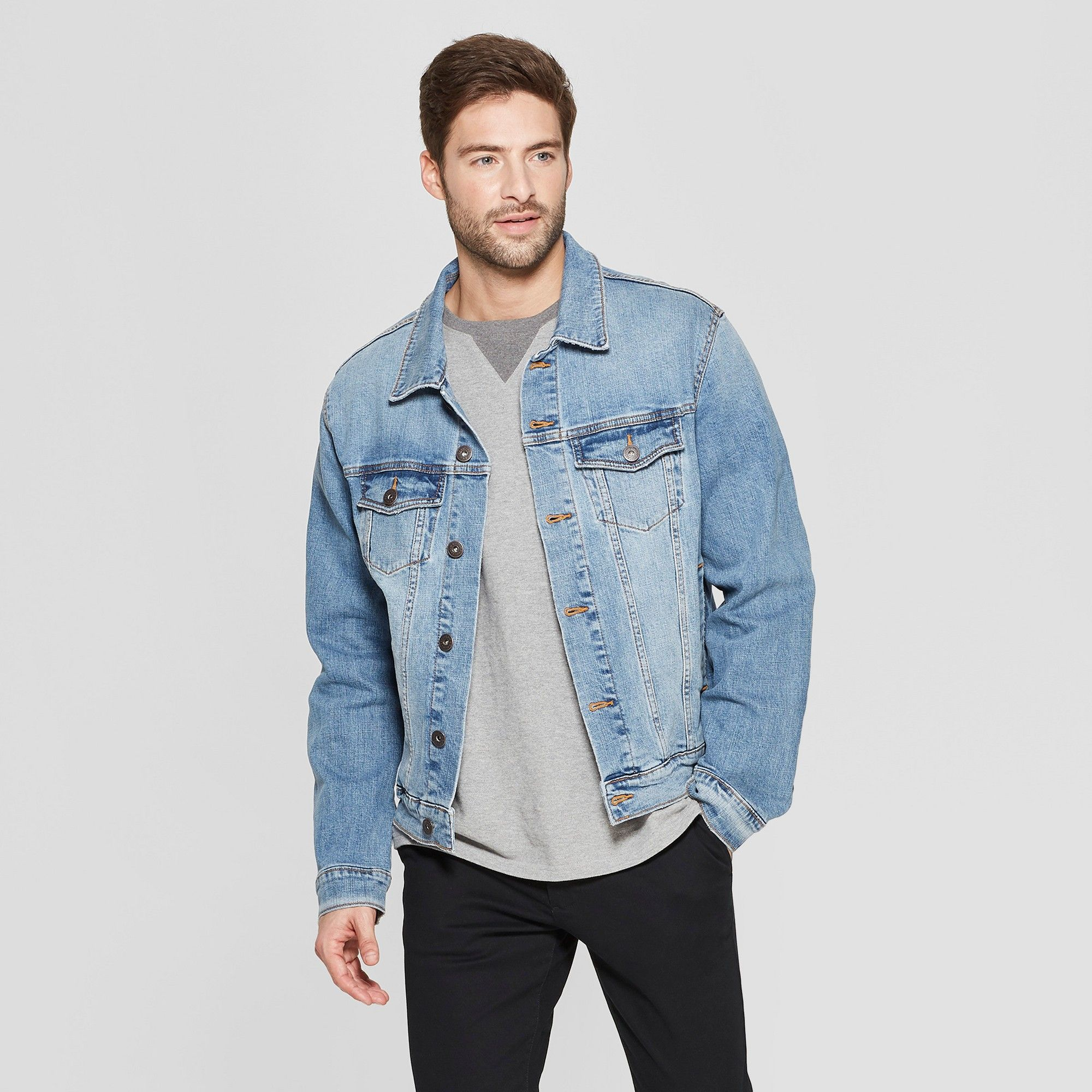 Men S Denim Trucker Jacket Goodfellow Co Light Wash Xxl Light Wash Denim Jacket Denim Jacket Men Jacket Outfits [ 2000 x 2000 Pixel ]