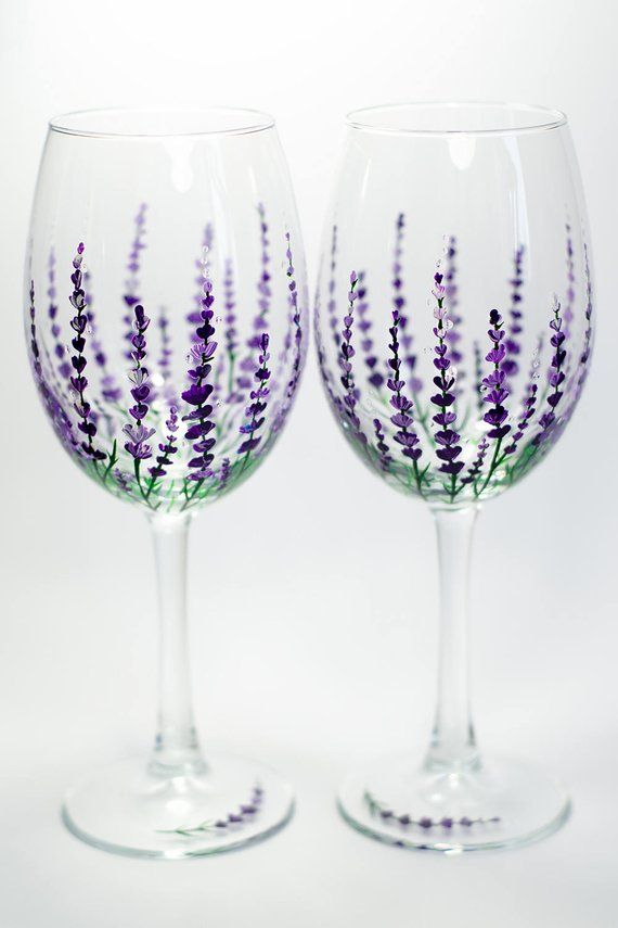 Wedding Wine Glasses Personalized Lavender Glasses Gift For Mom