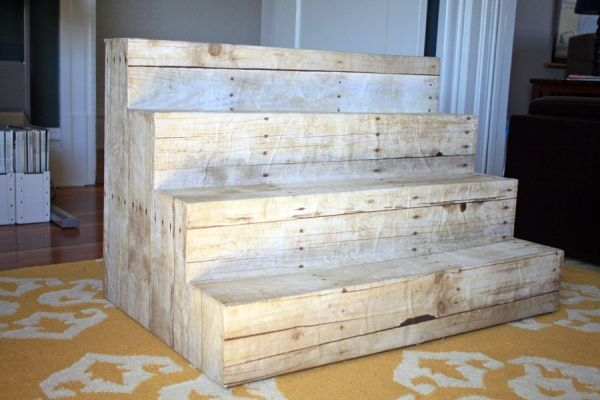 DIY Display Risers: foam core covered in faux-wood paper