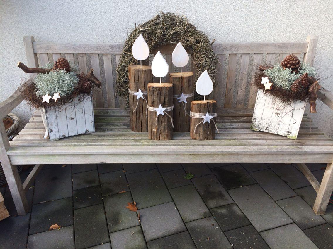 Weihnachtsdeko adventskranz f r drau en diy kerzen aus alten eichenbalken christmas decoration - Weihnachtsdeko palette ...