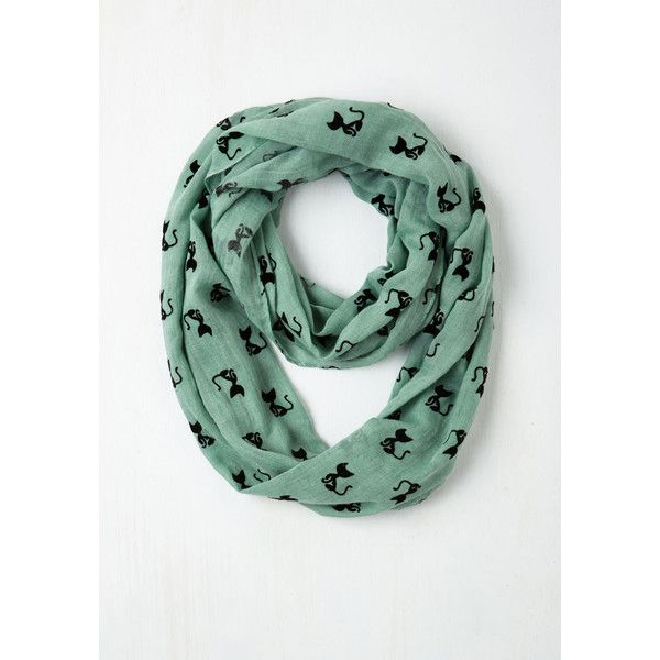 ModCloth Cats Cat Person Circle Scarf (27 CAD) ❤ liked on Polyvore featuring accessories, scarves, fashion scarf, mint, round scarf, wrap shawl, infinity loop scarves, round scarves and infinity scarves
