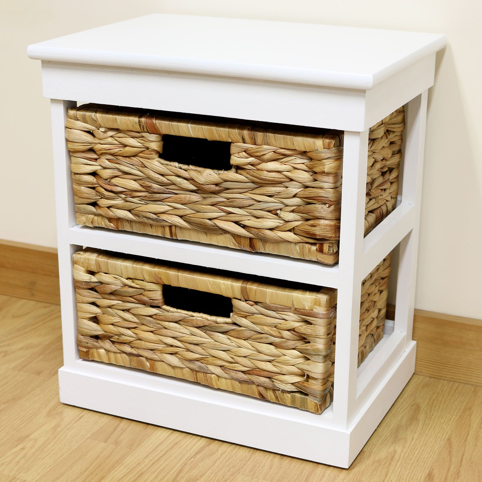white 2 drawer basket bedside cabinet/home storage unit/lounge