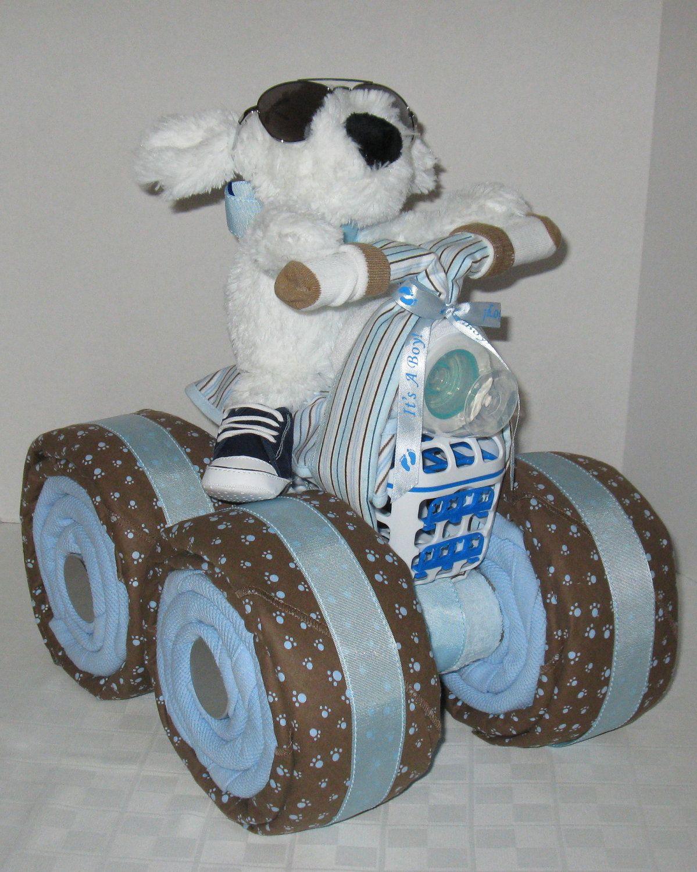 Baby Boy Gift Cake : Wheeler quad motorcycle diaper cake baby gift