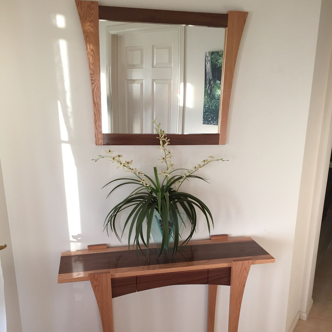 American Oak & Walnut timber hall table and matching mirror