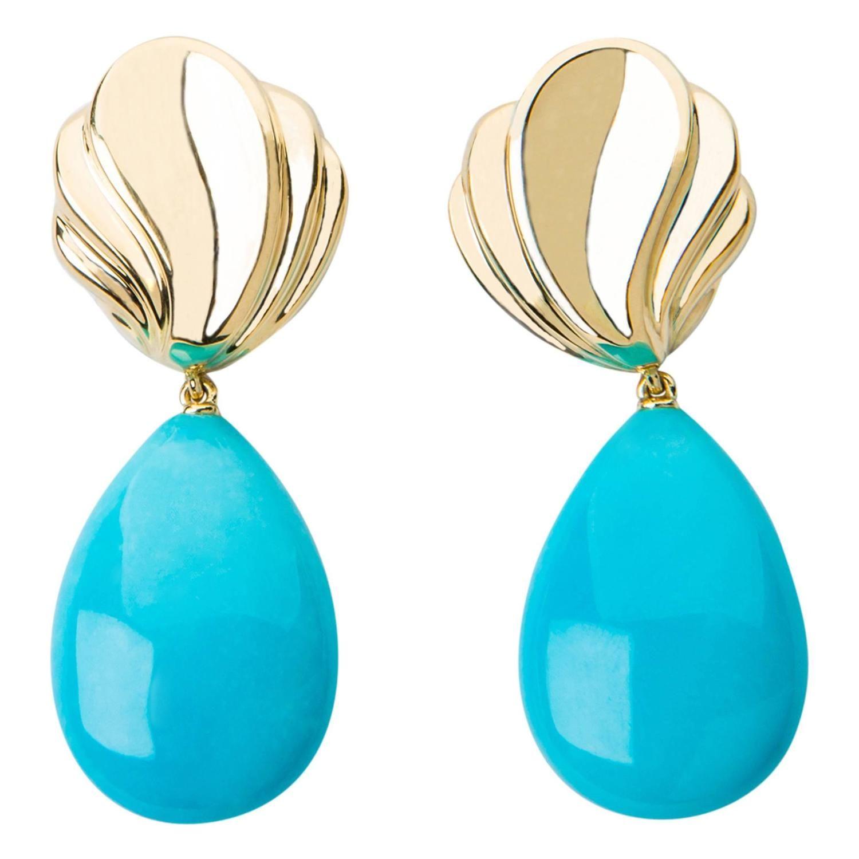Tiffany & Co. Dramatic Turquoise Gold Drop Earrings | 1stdibs.com