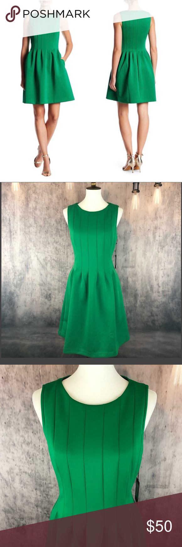 Vince Camuto Scuba Green Fit Flare Dress 12 Fit Flare Dress Flare Dress Fit And Flare Dress [ 1740 x 580 Pixel ]