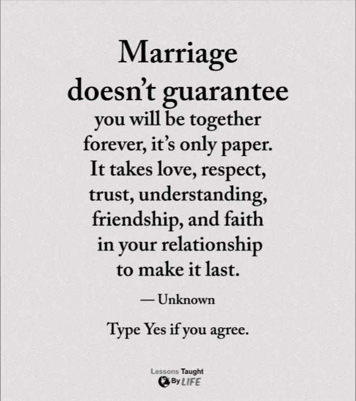 Marriage doesn't guarantee