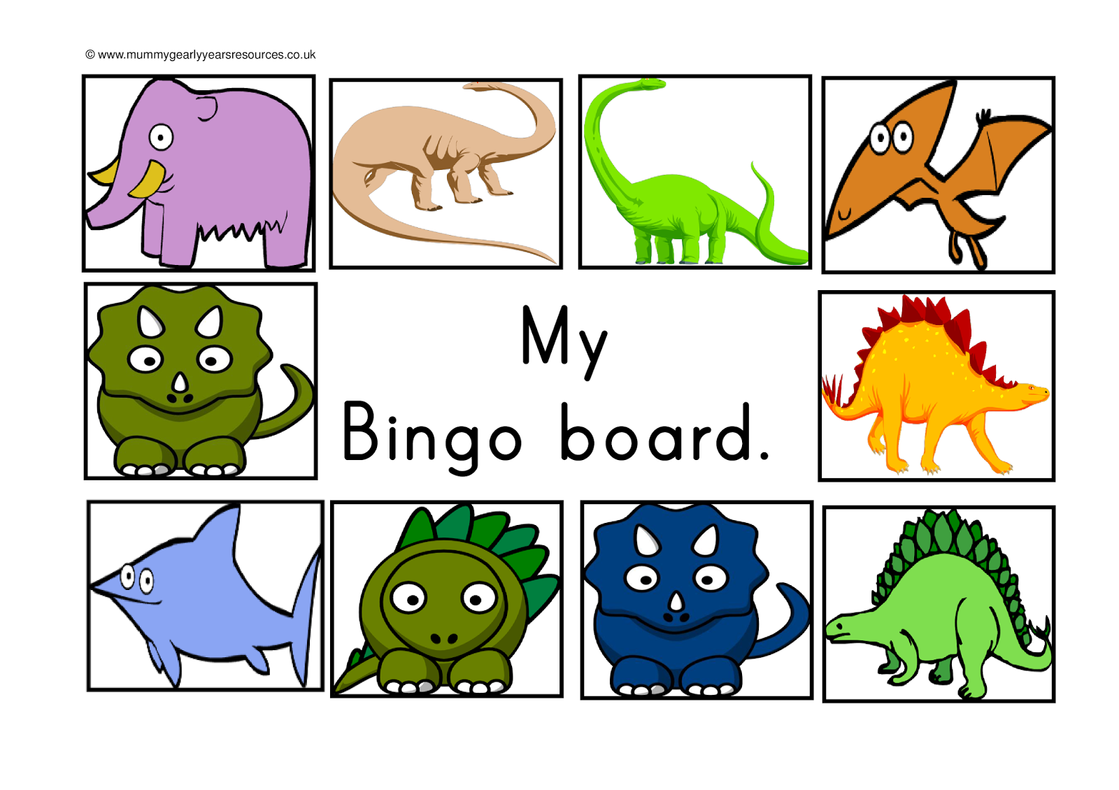 Mummy G Early Years Resources Dinosaur Bingo Game