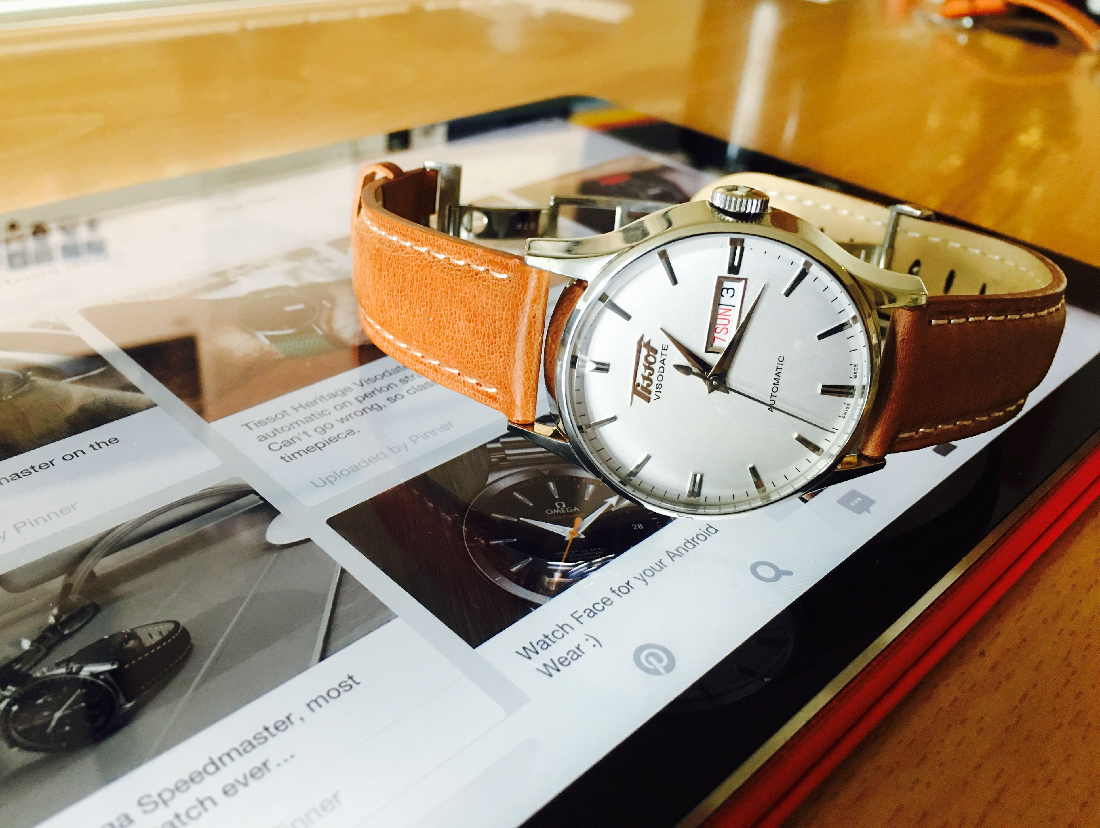 69cd8db05 Tissot Heritage Visodate automatic, on light brown leather strap ...