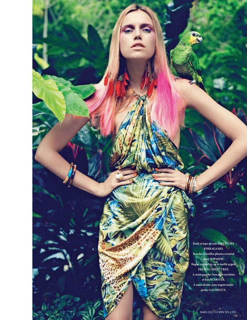 L'Officiel March 2012    Her ombre pink hair and dress is stunning