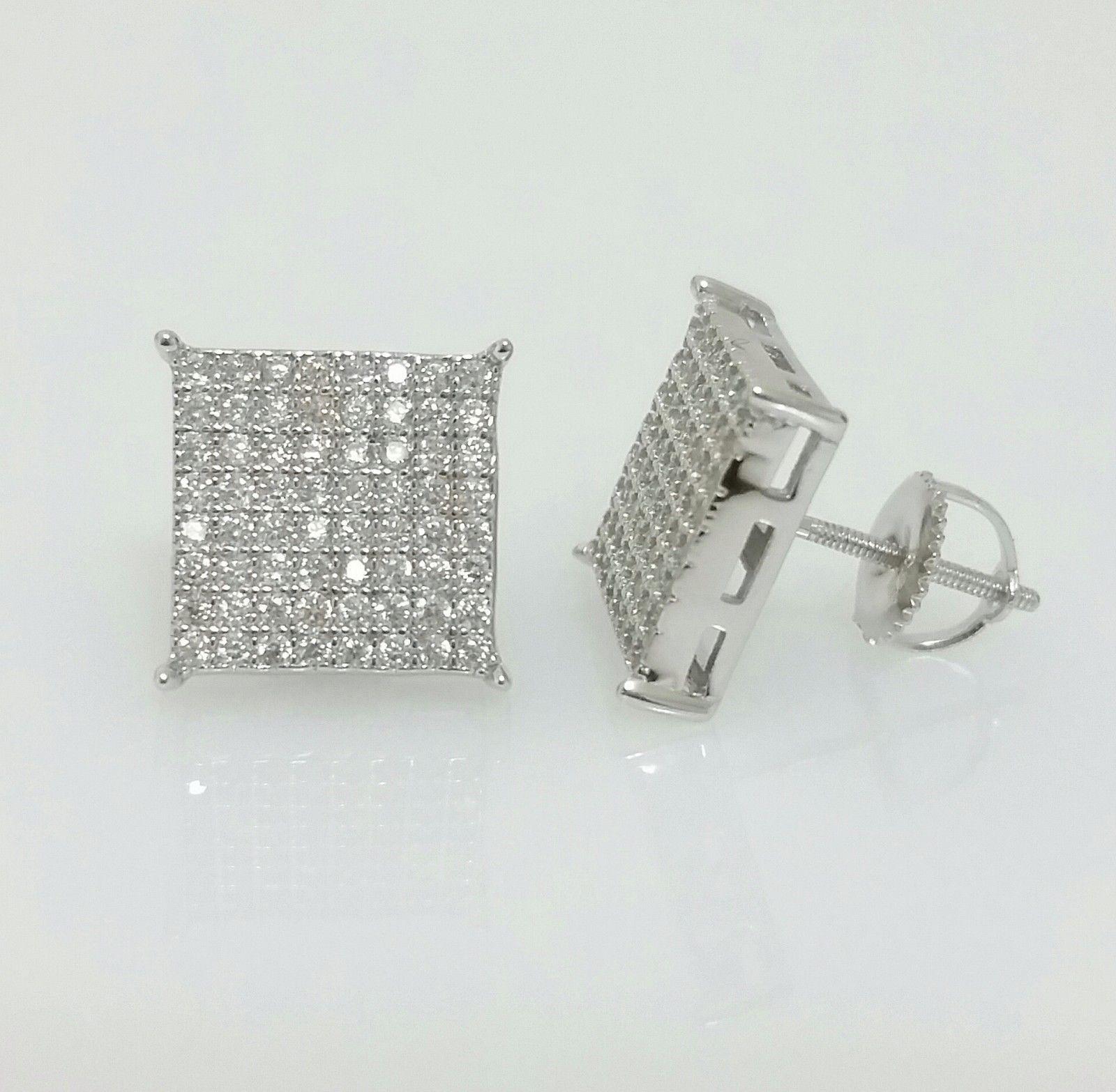 ce25ffd51 Earrings Studs 14085: Men 925 Sterling Silver Lab Diamond Flat Screen  Square Screw Back Stud