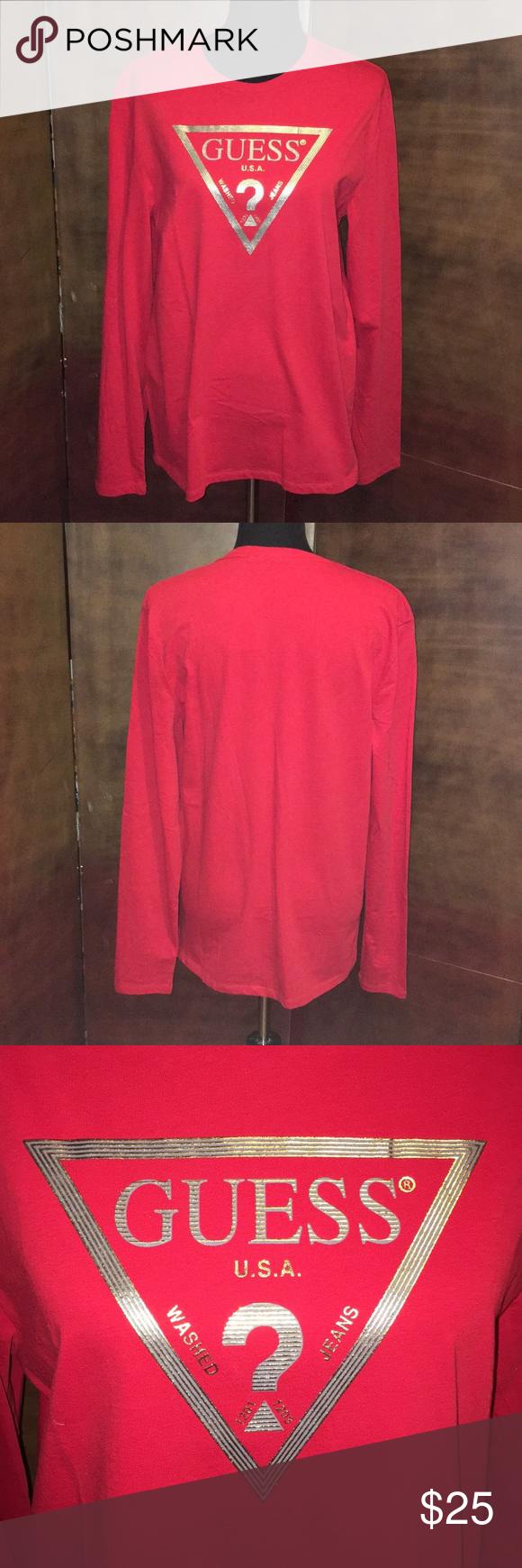 Nwt Guess Red Gold Long Sleeve Shirt Guess Shirts Clothes Design Long Sleeve Shirts