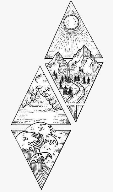 Vier Elemente Grafik  Tattoo #besttattoo – diy best tattoo images