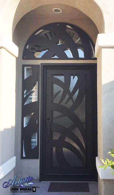 Wrought Iron And Glass Front Door With Arched And Side Window Guard