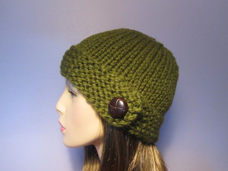 Knit Hat - Warm Green Chunky Knit Hat with Genuine Leather Button ...