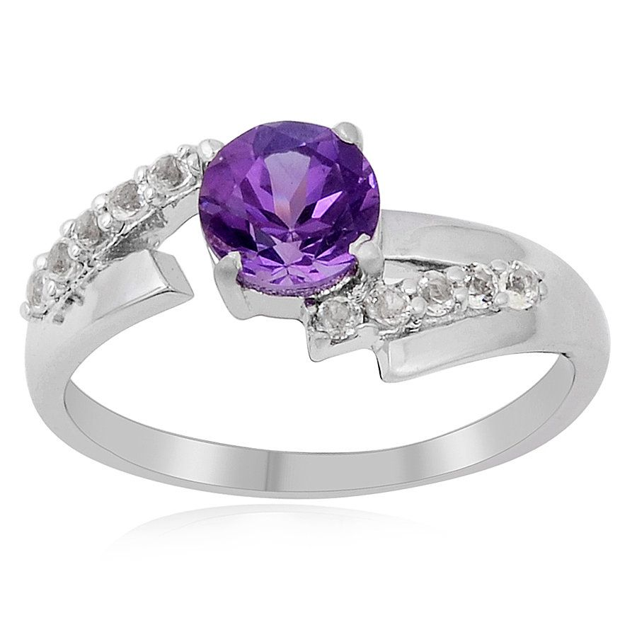 Wedding Ring for Women/'s Solitaire Ring for Her Amethyst Sterling Silver Ring February Birthstone Ring for Women