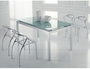 Tavolo Allungabile Vetro Trasparente.Splash Tavolo Allungabile In Vetro Tavolo Quadrato Raddoppiabile